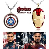 2 PC AVENGERS SET - IRONMAN FACE (RED/GOLD) & CAPTAIN AMERICA REVOLVING LARGE TRENDY IMPORTED METAL PENDANTS WITH CHAIN. LADY HAWK DESIGNER SERIES 2018. ❤ LATEST ARRIVALS - RINGS & T SHIRT - CAPTAIN AMERICA - AVENGERS - MARVEL - SHIELD - IR