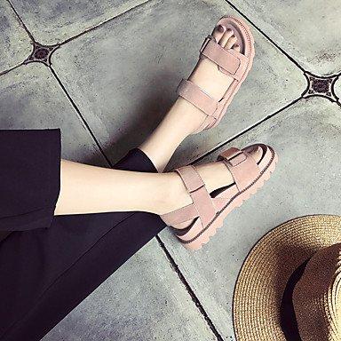 LvYuan Da donna Sandali PU (Poliuretano) Primavera Estate Piatto Bianco Nero Rosa Piatto Black