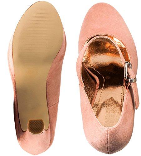 Elara Damen High Heels   Bequeme Spangen Pumps   Riemchen Stilettos   chunkyrayan Pink Wild