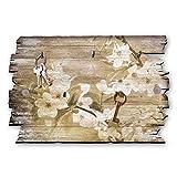 Kreative Feder Kirschblüten Designer Schlüsselbrett, Hakenleiste Landhaus Style, Shabby aus Holz 30x20cm, HSB101