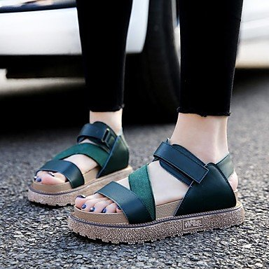 RUGAI-UE Frauen Sandalen PU Casual Schuhe High Heels, Grün, Us5.5/EU36/UK3.5/CN 35 Green