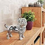 FineBuy Design Deko Hund Bulldogge Aluminium Silbern 19 x 19 x 8 cm handgefertigt | Alu Dekoration Wohnung Dekoartikel Skulptur Statue | Deko Figur Wohnzimmer Schlafzimmer modern