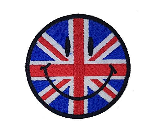 Smiley nel Regno Unito Regno Unito GB bandiera britannica Union Jack patch   ricamo di alta qualità Iron On Sew on patch ricamato distintivi per abiti giacche, cappotti cappelli borse bors