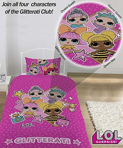 L.O.L. Sorpresa! Copripiumino singolo con federa LOL Sorpresa Glitterati Serie Confetti Pop LOL Biancheria da letto Reversibile design Queen Bee Dolls Glitter Pattern - 5