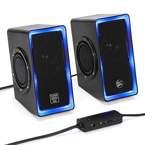 GOgroove SonaVERSE O2i LED PC Lautsprecher für Laptop und Computer USB Lautsprecher für Gaming Desktop mit Verkabelter Kopfhörerbuchse AUX-Audioeingang, Blaue Lichter und Lautstärkeregler - Schwarz