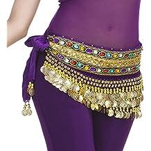 YouPue Danza del vientre cinturón dancewear monedas de con lentejuelas y cinturón de monedas danza del vientre para las damas más colores