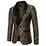 Eghunooye Herren Luxus Floral Party Kleid Anzug Revers Jacke Blazer Slim Fit One Button Party Anzug Hochzeit Prom Smoking (Gold, Large)