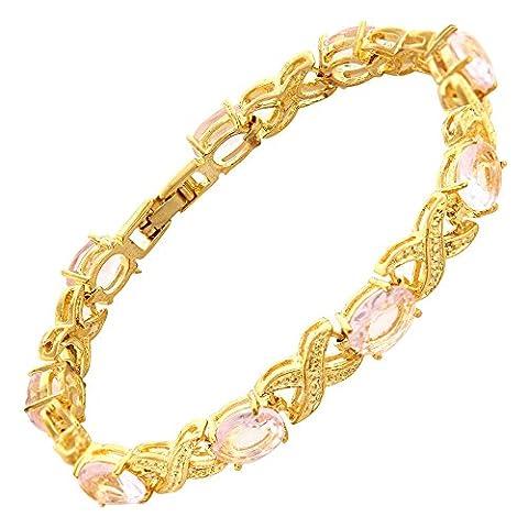 Rizilia Jewellery Oval Cut Pink Sapphire Color Gemstones Fine CZ