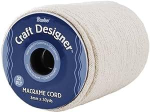 Macramé Cordon 3Mm 32 Plis 50 Mètres/Bobine-Naturel Coton