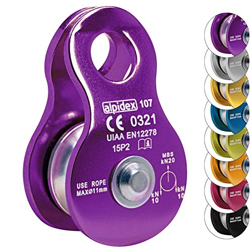 ALPIDEX Seilrolle Umlenkrolle 20 kN - geeignet für Seile bis 11 mm Durchmesser - EN12278, Farbe:Violet
