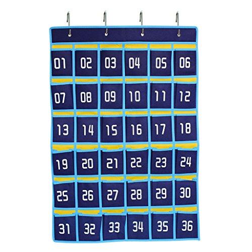 hanlinggg nummeriert Klassenzimmer Tasche Diagramm für Handys Taschenrechner Halter Organizer zum Aufhängen mit 4Metall Haken 36 Pockets Blue (Chart Storage Pocket)