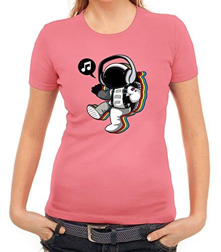 Musik Damen T-Shirt mit Groovy Astronaut Motiv von ShirtStreet Rosa