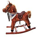 Baby Schaukelpferd Holz,Plüsch Rocker Chair Mit Pony Wiehern Klingen Für 0.5-6 Kind Geburtstag Vorhanden Mund Und Schwanz Beweglich (Farbe : Brown)