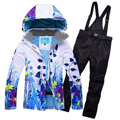 HAONUAN Skijacke Frauen Skianzug Ski Jacke Hose Wasserdicht Winddicht Snowboard Anzug Weibliche Super Warm Flower Style Mantel Hosen Ski Tragen (Jungen Anzüge Setzt)