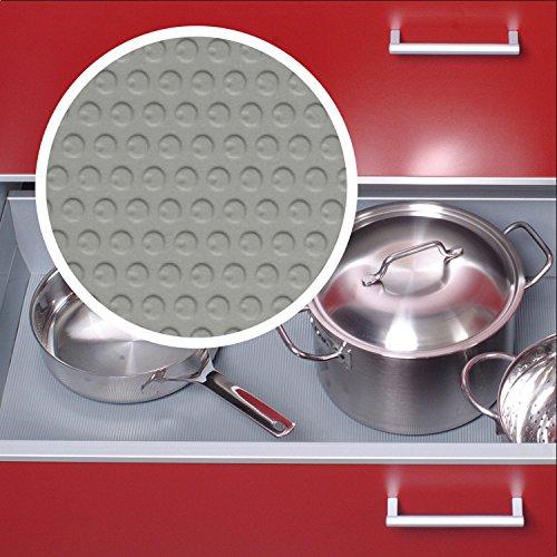 Schubladenmatte Schubladeneinlage Küche Noppen 900mm Meterware 1,5m Länge silbergrau