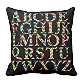 Bags-Online Decorative Square Colorful Fashion Chevron Stripes English Alphabet Pillow Case Covers Home Decor Design for Sofa Two Sides 16X16 inch
