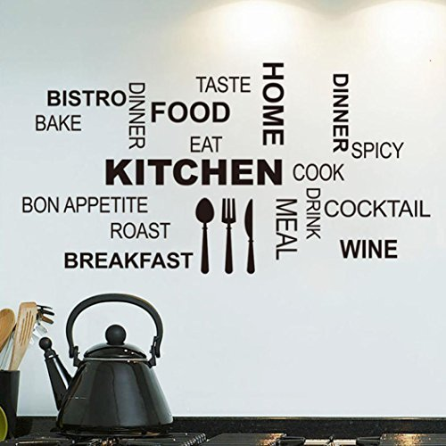 Voberry® Kitchen Letter Removable Vinyl Wall Stickers Mural Decal Quotes Art  Home Decor