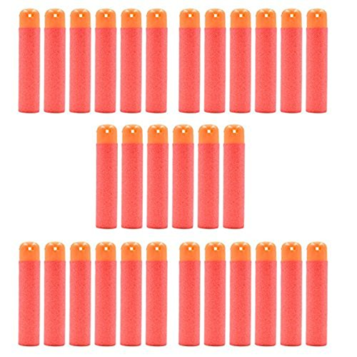 30pcs Soft Mega Refill Bullet Darts Foam Darts For Nerf N-Strike Elite Series Blasters Kids Toy Gun, Red