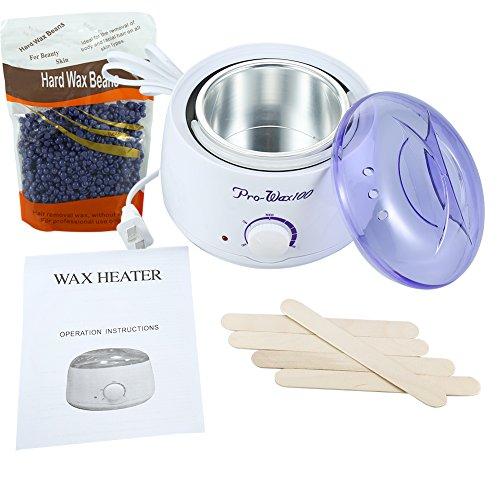 Calentador de Frijol de Cera Para Depilación + 300g Frijol/Lavanda Cera + 5 Pcs Palo(#1)