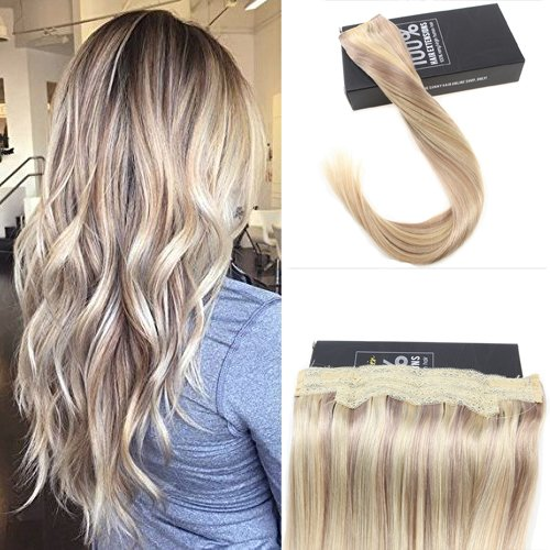 Sunny highlight blond estensioni flip weft 16 pollici dritto remy wire extension capelli veri con filo no clip no glue 80g/set