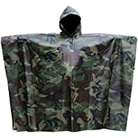 Aodoor Camo Waterproof Rain Jacket, Multifunctional Outdoor Military Camouflage Raincoat Poncho,for Hunting Camping Military and with Emergency Grommet Corners for shelter use,Rain Poncho waterproof