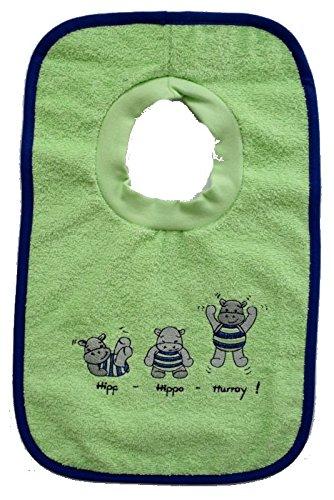 Mauz Schlupflätzchen mit Stickerei Frottee (Hippo apfelgrün)