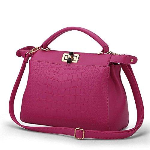 HQYSS Damen-handtaschen Frauen PU-lederne große Kapazitäts-prägeartige Schulter-Beutel-Kurier-Handtaschen-justierbare einfache wilde Einkaufstasche rose red