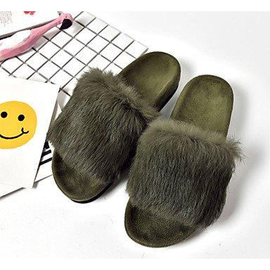 zhENfu donna Appartamenti Inverno piattaforma informale di pelliccia tacco piatto piattaforma marrone nero verde grigio a piedi Green