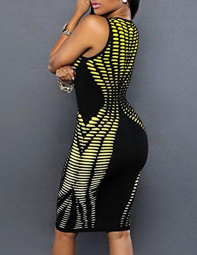 Ninimour Damen Ärmellos Karo Abendkleid Bodycon Midi Kleid X-Gelb