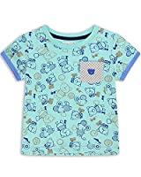 The Essential One - Boys Kids Printed T-Shirt - Bailey Bear - 2-3 Yrs - Green/Blue - EOT182