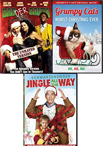 Oh No Ho Ho! Holiday 3-Movie Comedy Bundle - Bad Santa + Grumpy Cat Worst Christmas Eve & Jingle All The Way 3-DVD Naughty Cheer Collection