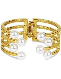 Aaishwarya Caged Golden Toned Pearly Hand Cuff / Kada Bangle For Women/Girls