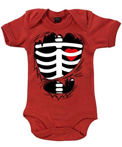 -- Kleines Skelett mit Herz -- Halloween / Karneval Babybody Rot, Größe 12/18 Monate