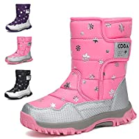 Kids Snow Boots Girls Boys Toddler Waterproof Outdoor Hiking Warm Shoes Winter Fur Lined Boots
