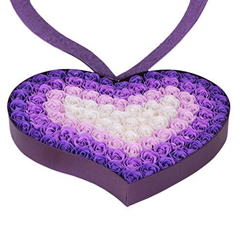 TININNA 100 pièces Fait Main Artificiel Rose Savon Fleur Une Baignoire Savon Rose Pétale Dans le Coeur Forme Boîte Créatif Cadeau pour Valentine's Journée Anniversaire Violet