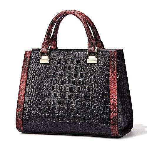 QI WANG Frauen-echtes Leder-Designer-Handtaschen-Krokodil-Top-Griff Taschen Abend Schulranzen Schultertaschen -