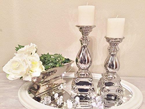 Keramik Kerzenleuchter Silber Stabkerze Stumpenkerze Kerzenständer Shabby 2er-Sparset