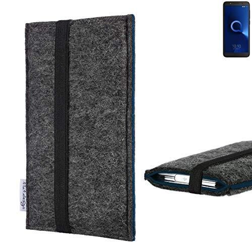 flat.design Handyhülle Lagoa für Alcatel 1C Single SIM | Farbe: anthrazit/blau | Smartphone-Tasche aus Filz | Handy Schutzhülle| Handytasche Made in Germany