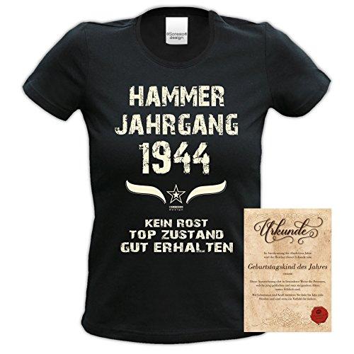 Soreso Design Geburtstagsgeschenk Set für Sie Zum 74. Geburtstag -:- Geschenk 74 Jahre : Hammer Jahrgang 1944 Farbe: Schwarz Schwarz