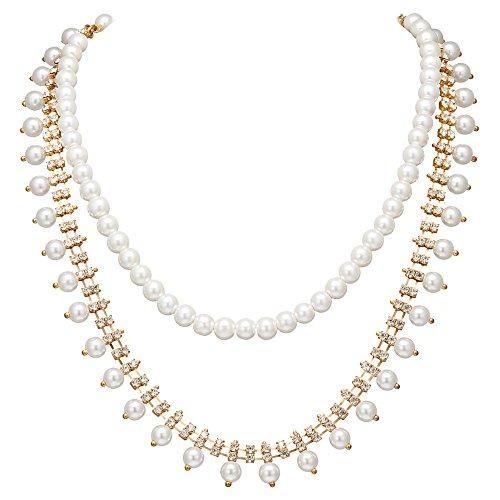Coucoland 1920s Halskette Imitation Perlen Gold Strass Braut Perlen Kette Retro Stil Hochzeit Accessoires Damen Great Gatsby Party Zubehör (Weiß und Gold) - Braut Perlen Halskette