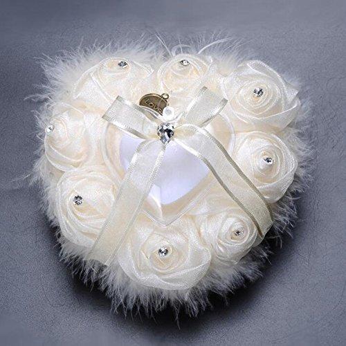 bpblgf New Rose Strauß Haar HerzföRmigen Diamant Ringkissen High-End Handgefertigte Braut Ring Box, 01, 15*15cm