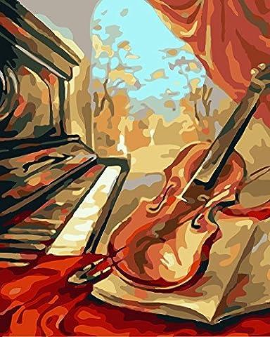 Obella Peinture par numéros Kits issu de la gamme Instruments de musique Piano pour violon 50x 40cm issu de la gamme Peinture par numéros numériques, peinture à l'huile, sans cadre