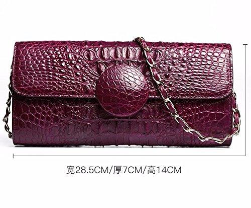 lpkone-Mme sac à main motif peau de crocodile soirée bandoulière sac à bandoulière femme sac d'embrayage Purple