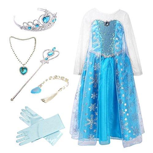 Anbelarui Mädchen Prinzessin Schneeflocke Süßer Ausschnitt Kleid Kostüme mit Zubehör Set (130 (Körpergröße 130cm, 03 Kleid&Zubehör)