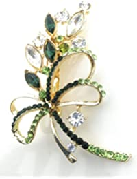 Saree Pin Brooch For Women, Girls & Men, Gold Tone, Green Color Stone Stud