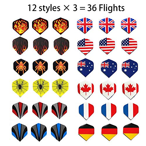 Sinwind Flechette Pointe Plastique, 12 Fléchettes avec 36 Ailettes (12 Styles) et 36 Pointes, Set de Flechettes à Pointe Souple pour Cible de Flechette Electronique (2)