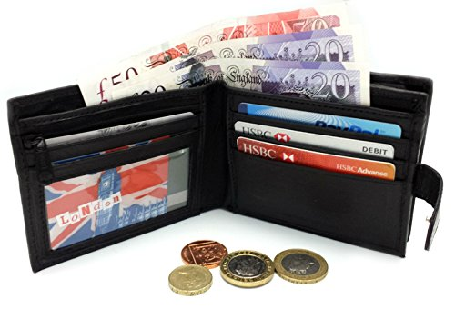 RFID BLOCKING MENS DESIGNER BUONO PELLE GENUINE REAL SOFT LEATHER WALLET WITH LARGE ZIP COIN POCKET / POUCH GIFT BOXED