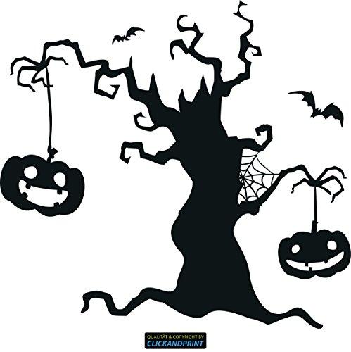 CLICKANDPRINT Aufkleber » Halloween Baum, 130x121,7cm, Carbon Oracal schwarz matt • Dekoaufkleber / Autoaufkleber / Sticker / Decal / Vinyl