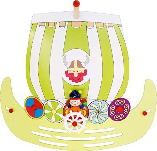 Elobra Kinderlampe Wandleuchte Wikingerschiff, Kinderzimmer, Holz, lindgrün, A++