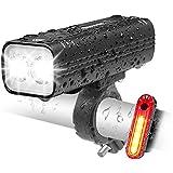 EBUYFIRE Oplaadbare fietslamp, USB, 2000 lumen, led-verlichting voor voor- en achterkant, 3 modi, IPX5, waterdicht, veilighei